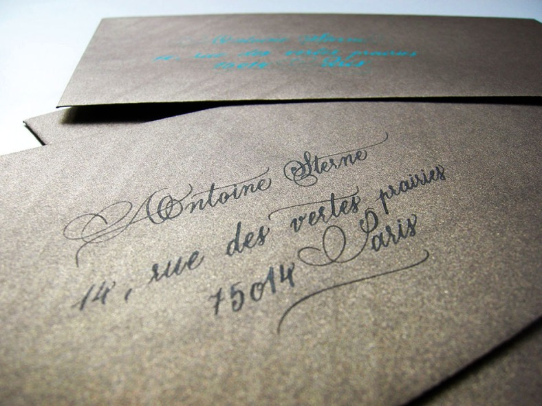 Enveloppe calligraphiée, enveloppes calligraphiées paris, faire part calligraphie mariage, calligraphie anglaise, wedding calligraphy, wedding calligrapher, copperplate