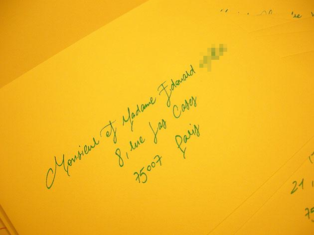french calligraphy, écrire adresse sur enveloppe mariage, calligraphie enveloppe faire part